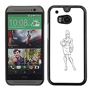 Planetar® ( Sketch Fashion Haut Couture Design Bag ) HTC One M8 Fundas Cover Cubre Hard Case Cover