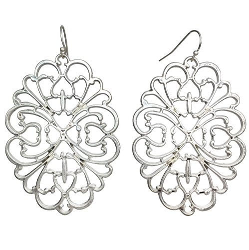 Swirl Earrings Pearl (Abstract Filigree Swirl Boutique Style Dangle Earrings (Matte Silver Tone))