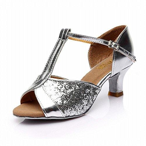 Onecolor Latino El Jazz Plata Tobillo Modern Zapatos Baile Suave Samba Adulto Sandalias Alto Cuero de BYLE de Zapatos Baile Social 7cm Paño Baile de Talón H8Svwwqx