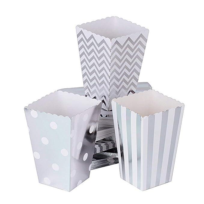 Knowing 48 Piezas Cajas para Palomitas Raya Ondas Cajas Palomitas para Boda Fiesta Cumpleaños Picnic Fiesta Candy Contenedor Considerar Caja (Plata)