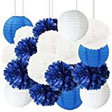 Furuix Nautical Party Decorations 18pcs White Navy Blue Tissue Paper Pom Poms Paper Lanterns 8inch 10inch 12inch Mixed Package for Nautical Mediterranean Themed Party Wedding Paper Garland, Bridal Shower Decorations Baby Shower Nursery Decoration