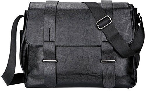 4FSGLOBAL New Vintage Men Shoulder Bag Casual Crossbody Messenger Bag Faux Leather (Black Wide 34*28*10cm)