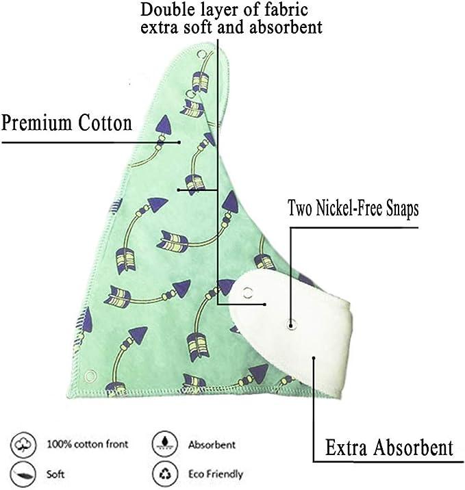 Bavoirs Bandanas B/éb/é Garcon Bio Coton Triangle Imprim/és Ultra Absorbant Nouveau n/é Bave Pression Eponge Bavoir Unisexe Cadeau Naissance-Lot de 8 Pcs