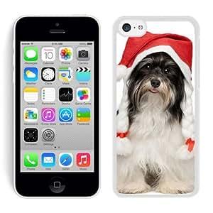 Custom-ized Phone Case Naughty Dog Of Christmas Hat White Hard Shell Iphone 5c Plastic Phone Case