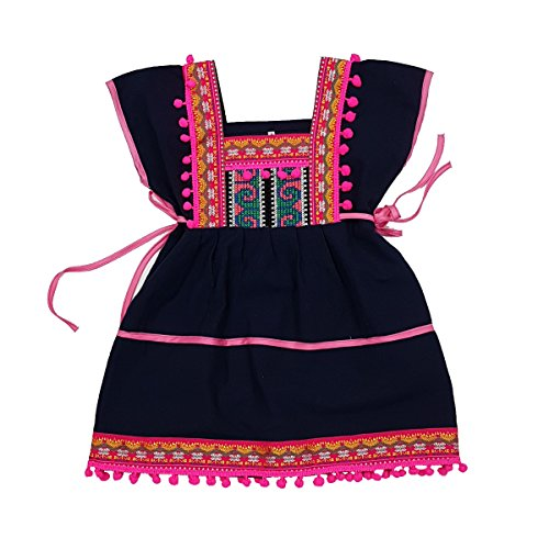 Unique Woven Cotton Ethnic Thai Girl Dress Hand Made Embroidered Costume Traditional Pompoms 3 to (Thai Embroidered Dress)