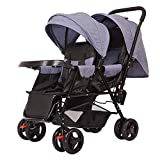 LQRYJDZ Double Stroller,Sitting back and forth Tandem Stroller, with Adjustable Backrest, Footrest, 5 Points Safety Belts, Foldable Design for Easy Transportation (Color : A)