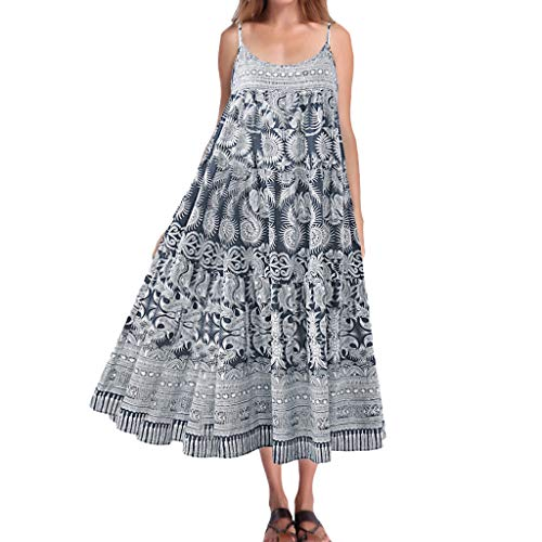 Women Cotton Strap Swing Dress, Casual Loose Boho Floral Print Summer Beach Long Maxi Dresses (Blue, L2)