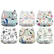Mama Koala One Size Baby Washable Reusable Pocket Cloth Diapers, 6 Pack with 6 One Size Microfiber Inserts (Love Me Tender)