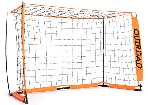 Outroad Portable 6x4 Soccer Goal for Backyard, Practice Small Soccer Net for Kids/Youth, Metal Bownet Post for Soccer w/Carry Bag,(Orange) (Metal 4' Spring)