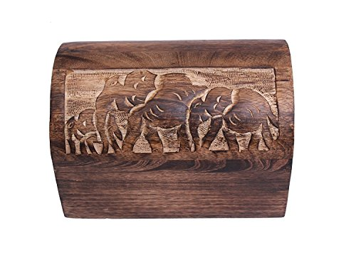 Chest Style Wooden Elephant Keepsake Storage Box Hand Carved with Rustic Finish, 9 x 6 inches