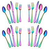 20-Piece Stainless Steel Flatware Set,Tableware Set,Dinnerware Set Service for 4, Include Knife/Fork/Spoon/Teaspoon/Fruit fork (Rainbow Multicolor