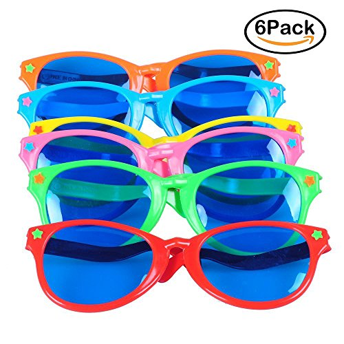 Sohapy 6 Pack Colorful Jumbo Blue Lens Sunglasses for Christmas,Party Favor,Halloween Costumes Cosplay,Masquerade Balls,Wedding,Birthday,Fun Party Props