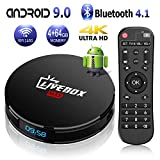 Android TV Box 9.0 with 4GB RAM 64GB ROM RK3318 Bluetooth 4.1 Quad-Core Cortex-A53 64 Bits, Support Dual-WiFi 2.4GHz/5GHz, 4K 3D Ultra HD HDMI H.265,USB 3.0 Smart TV Box[2019 Version]