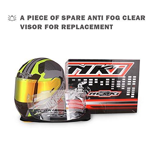 NENKI NK-856 Street Bike Full Face Motorcycle Helmets DOT Approved With Iridium Red Visor and Inner Sun Shield (L,Matt Black & Yellow)