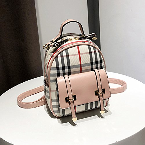 dudubaobei casual PU fresh female pink bag student simple backpack A small fashion leather small plaid backpack Sqw8rS