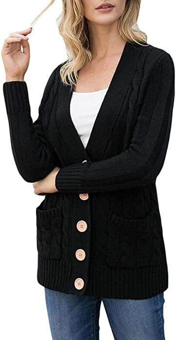 1bca4086a0e85 MILEEO Womens Cardigans Casual Lightweight V Neck Long Sleeve Autumn Winter Cardigan  Sweaters with Buttons