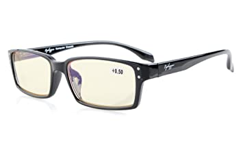 96c6e7ff2e79 Eyekepper Quality Spring-Hinges Classic Rectangular Frame Computer Glasses  Computer Eyeglasses Readers (Black,
