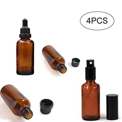 4pcs de 50ml vacíos de botellas de vidrio ámbar con gotero dispensador Botella fina niebla pulverizador
