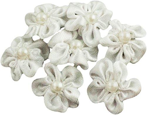 HAND H0633 Satin Blume nähen auf Borten, Verzierungen mit weißer Perlenzentren Größe 20 mm Packung mit 20 White