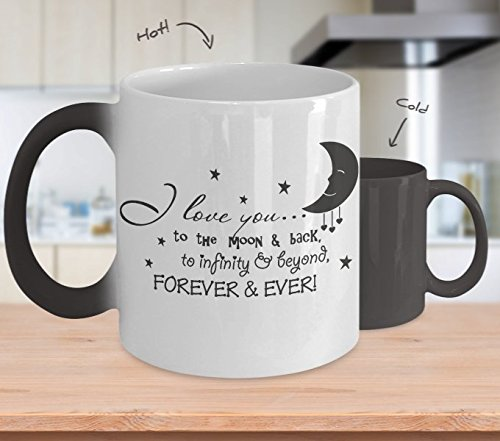 Romantic Novelty Coffee Mug - I Love You to the Moon and Back Color Changing Mug 11oz for Valentines day, Birthday