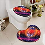 aolankaili Printed Bath Heart Shaped Foot pad Set Apocalyptic Cosmos Design Circular Striped Sky Solar System 2 Piece Heart Shaped Foot pad Set