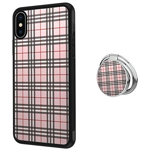 (Hynina Phone Case and Phone Ring Buckle Compatible for iPhone Xs X 10 - Tartan Plaid Pattern)