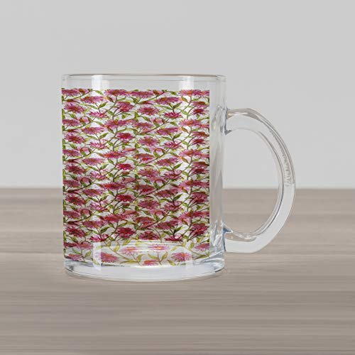 Ambesonne Daisy Glass Mug, Fresh and Organic Echinacea Petals Floral Themed Image Healthy Wildflower Design, Printed Clear Glass Coffee Mug Cup for Beverages Water Tea Drinks, Multicolor