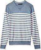 Nautica Men's Long Sleeve Bretton Stripe Crew Neck Sweater, Deep Anchor Heather, Small