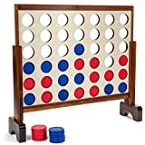Tailgating Pros Wood Stained Giant Four Connect in a Row with Carrying Case 3ft x 2 ft - 4 in a Row