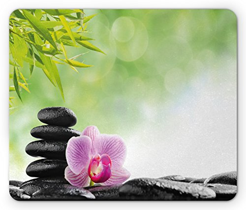 Flowers Dew - Lunarable Asian Mouse Pad, Zen Basalt Stone and Orchid Flower with Dew Harmony Therapeutic Spa Theme Photo, Standard Size Rectangle Non-Slip Rubber Mousepad, Green Black Pink