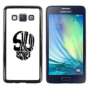 Caucho caso de Shell duro de la cubierta de accesorios de protección BY RAYDREAMMM - Samsung Galaxy A3 - Huesos del cráneo