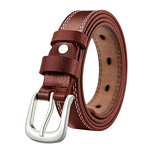 LUXUR Women Leather Belts Silver Buckle Fashion Genuine Premium Leather Belts for Pants or Dresses Dark Brown-S