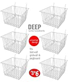 Only Garment Racks Deep Wire Storage Baskets For Gridwall, Slatwall and Pegboard - White Finish - Dimensions: 12'' x 12'' x 8'' Deep - Economically Sold in a Set of 6 Baskets
