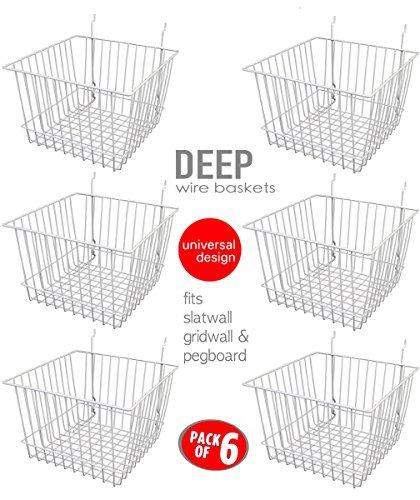 Only Garment Racks Deep Wire Storage Baskets For Gridwall, Slatwall and Pegboard - White Finish - Dimensions: 12'' x 12'' x 8'' Deep - Economically Sold in a Set of 6 Baskets by Only Garment Racks (Image #1)