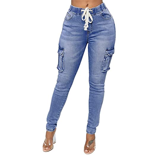 93226be7f4 Kehen Women s Active Fit Casual Jeans with Multiple Pockets Ladies Cargo Denim  Pants Military Trousers at Amazon Women s Jeans store