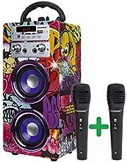 DYNASONIC - (3. generacji) przenośny głośnik Bluetooth z trybem karaoke i mikrofon, radiem FM i czytnikiem USB SD (12 Model)