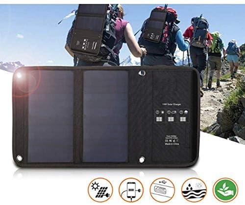 折り畳み式の14Wソーラーパネル折りたたみバッグ、ソーラー充電器、屋外緊急携帯電話の充電、充電ポート5V / 2.1AデュアルUSB(1個)