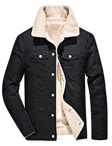 [해외]Yeokou 남자 캐주얼 슬림 셰르파 줄 지어 Shearling 코튼 트럭 자켓/Yeokou Men`s Casual Slim Sherpa Lined Shearling Cotton Trucker Jacket