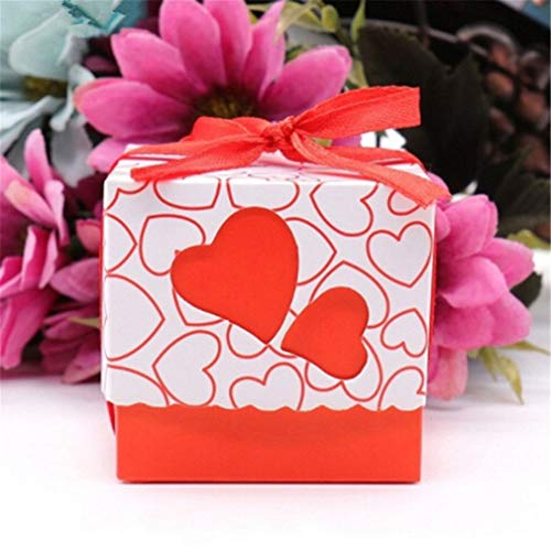 SOURBAN 50pcs Double Heart Hollow Candy Box Favor Boxes Paperboard Gift Box for Wedding Party Birthday Baby Shower,Red