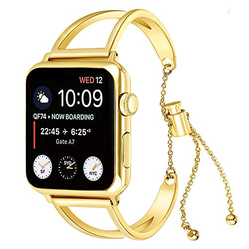 KoudHug Bracelet Compatible Apple Watch Band 38mm 40mm 42mm 44mm iWatch Series 4/3/2/1, Stainless Steel Apple Watch Band Women Cuff -