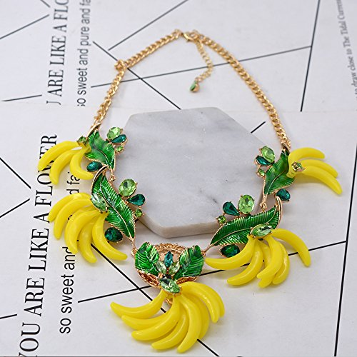 - Generic _ 2018 European _and_ American star _of_the_ big _stage_catwalk_ models _banana_ necklace pendant _inlaid_turquoise_ necklace pendant jewelry