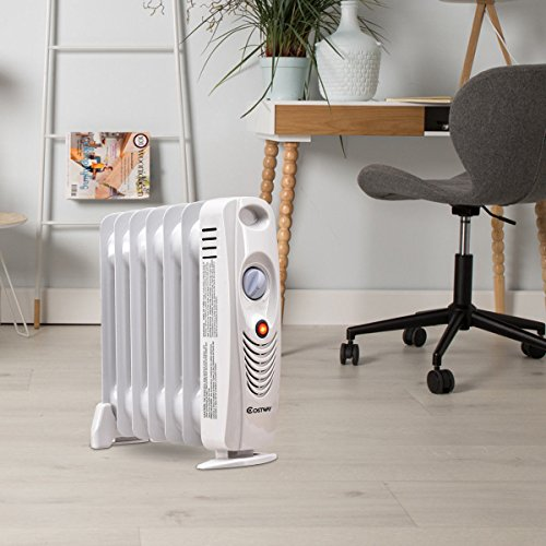 """COSTWAY Oil Filled Radiator Heater Mini Portable Electric Room Thermostat 700W (14"""" Height) by COSTWAY (Image #8)"""