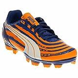 zapatos de football - PUMA Evospeed 5.2 Graphic Firm Ground JR Soccer Shoe (Little Kid/Big Kid),Monaco Blue/Sulphur Springs/Bright Marigold,4 M US Big Kid