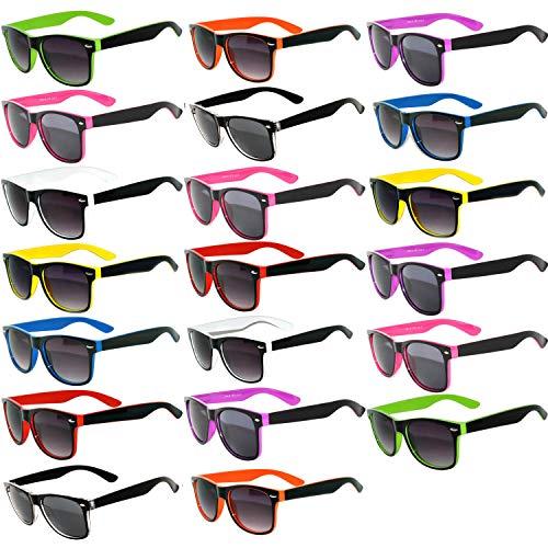 20 Pieces Per Case Wholesale Lot Glasses  Assorted Colored Frame Fashion  Sunglasses Bulk Sunglasses - Wholesale Bulk Party Glasses, Party Supplier