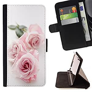 King Air - Premium PU Leather Wallet Case with Card Slots, Cash Compartment and Detachable Wrist Strap FOR HTC Desire 820 D820 d820t- Rose Pink Flower Romantic Love Heart