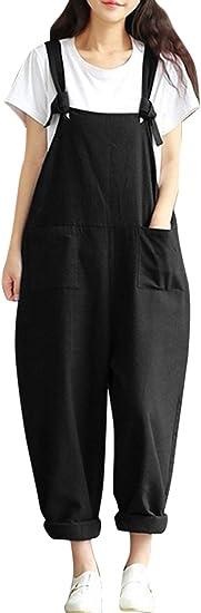 Fasumava Women Casual Loose Jumpsuits Wide Leg Hemp Sleeveless Rompers Overalls Amazon Ca Clothing Accessories