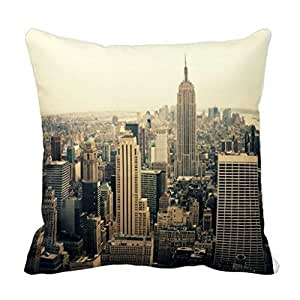 GraebnerSaleStore 18X 18inch Pastoral Style Cotton Linen Decorative Throw Pillow Cover Cushion Case New York City Skyline H:305