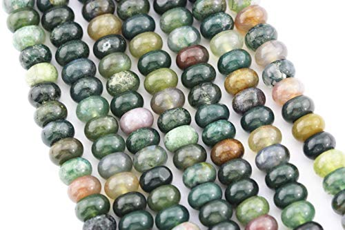 - ShopForAllYou Design Making Natural India Agate Smooth Rondelle Loose Beads Size 6x10mm 15.5