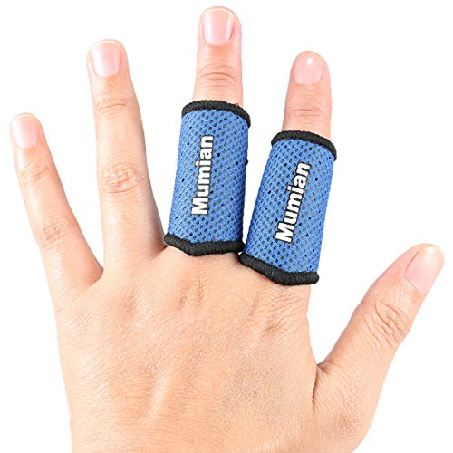 Sports Elastic Finger Sleeves Support Thumb Brace Protector Breathable Elastic Finger Tape for Basketball, Tennis,Baseball, Cycling, Volleyball, Badminton, Boating A71 BU-M