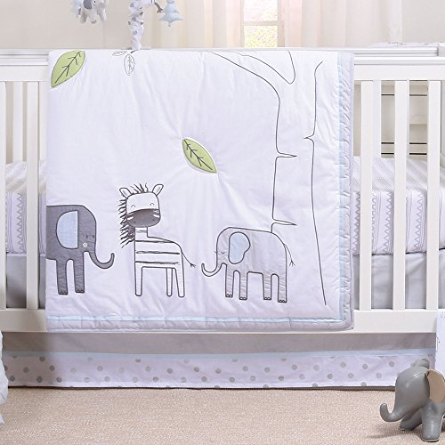 Elephant Park 3 Piece Jungle Theme Baby Crib Bedding Set by Little Haven